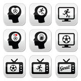 Man loving football or soccer buttons set Stock Photo