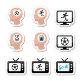Man loving football or soccer icons set Royalty Free Stock Photo