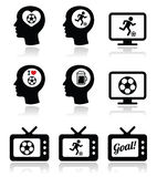 Man loving football or soccer icons set Stock Photos