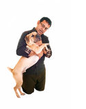 Man loving his dog. Royalty Free Stock Photography