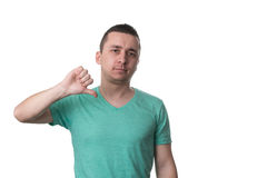 Man Lowered His Fist With The Thumb Down Royalty Free Stock Photography