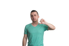 Man Lowered His Fist With The Thumb Down Stock Image
