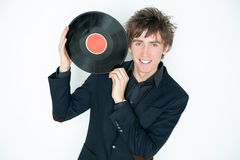 Man with LP record Stock Photography