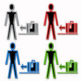 Man and Luggage Icons Royalty Free Stock Photo