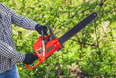 A man - Lumberjack in a black and white checkered shirt sawing a chainsaw. In a forest Royalty Free Stock Photos