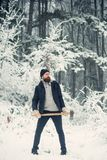 Man lumberjack in thermal jacket with ax. royalty free stock image