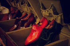 Man luxury hand made red shoes. Vintage Royalty Free Stock Photography