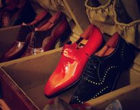 Man luxury hand made red shoes. Vintage Stock Image