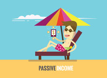 Man is lying on the beach and income money showing in smartphone. Passive income concept. flat design elements. vector illustration Stock Image