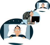 Vicious circle. Man lying in bed sleepless, thinking of work, where he`s thinking of night rest, EPS 8 vector illustration Royalty Free Stock Photo