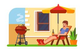 Man lying with a beer on a lounger. Bbq. Vector style Royalty Free Stock Photography
