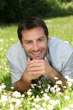 Man lying in a field of daisies Royalty Free Stock Images