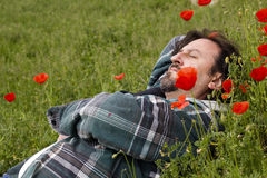 Man lying in a field of poppies Stock Image