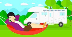 Man lying in hammock. Royalty Free Stock Images