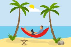 A man is lying in a hammock on the beach. A man with a laptop is in a hammock and does work against the backdrop of the sea and pa. Lm trees. Flat design, vector royalty free illustration