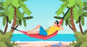 Man Lying In Hammock Beach Vacation Royalty Free Stock Photos