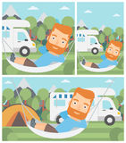 Man lying in hammock in front of motor home. Royalty Free Stock Photos