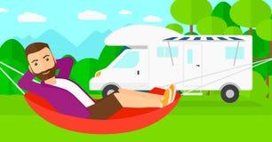 Man lying in hammock. Stock Images