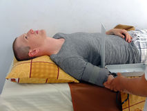 Man lying on hospital bed Royalty Free Stock Photos