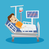 Man lying in hospital bed vector illustration. Stock Image