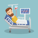 Man lying in hospital bed vector illustration. Royalty Free Stock Images