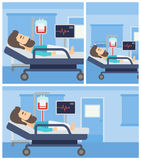 Man lying in hospital bed. Stock Photos