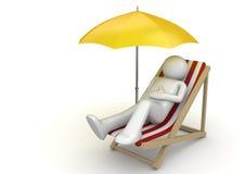 Free Man Lying On A Beach Chair Ynder Umbrella Stock Photo - 13557460