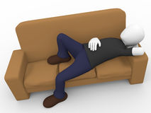 Man lying on the sofa Royalty Free Stock Photo