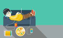 Man lying on sofa Royalty Free Stock Photo