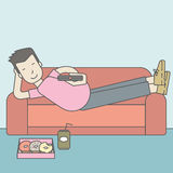Man lying on sofa. An asian man lying on a sofa holding a remote with three donuts on the plate and soda on the floor. Vector line design illustration. Square Stock Images