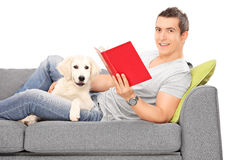 Man lying on sofa with puppy and reading a book Royalty Free Stock Image