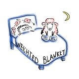 Man lying under weighted blanket vector illustration