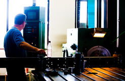 Man and machine. Worker in a factory controlling his machine Royalty Free Stock Photos