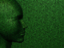 Man machine code. Illustration of a face made up of binary computer code Royalty Free Stock Image