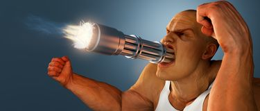 Man in a rage against the world. Man with machine gun for a mouth running off at the mouth stock illustration