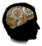 Man Machine Workings Gears Cogs Brain Stock Images