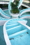 Man made converging waterfall. Spiralling converging waterfall, fountain, spiraling and convergene can be used conceptuall to indicate convergence of ideas Stock Photos