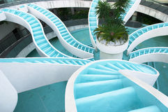 Man made converging waterfall, landscape. Spiralling converging waterfall, fountain, spiraling and convergene can be used conceptuall to indicate convergence of royalty free stock image