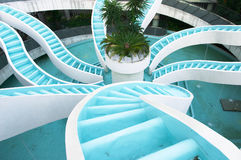 Man made converging waterfall, spiralling in. Spiralling converging waterfall, fountain, spiraling and convergene can be used conceptuall to indicate convergence Royalty Free Stock Photos