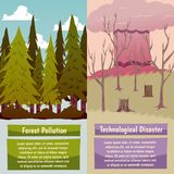 Man-made Disasters Orthogonal Banners royalty free illustration