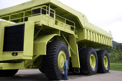 The man made giant. Large dump truck on display Stock Image