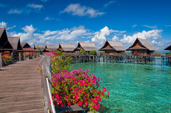 A man-made Kapalai island tropical resort. A man-made Kapalai island exotic tropical resort in the middle of ocean Royalty Free Stock Photography