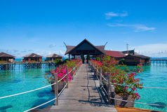 A man-made Kapalai island tropical resort Royalty Free Stock Images