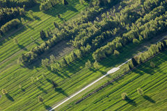 Man-made landscape. Furrowed fields. Structure of stripes and rows. Man-made landscape symbolizes the new geological era. Anthropocene. Furrowed fields Stock Photography