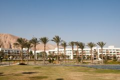 Man-made oasis at the hotel. Taba, Egypt. Stock Photography