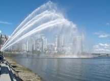 Man made rainbow. Water cannon testing time for the guns made for our harbor fireboats Stock Photography