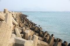 Man made sea wall in Indian coastal area. Stock Photography