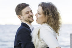 Man made a woman laugh Stock Images