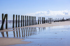 Man made wooden structures Spurn Point UK Royalty Free Stock Photos