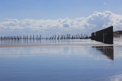 Man made wooden structures Spurn Point UK Stock Photos